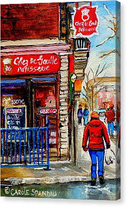 Snowy Walk By The Tea Room And Pastry Shop Winter Street Montreal Art Carole Spandau  Canvas Print by Carole Spandau