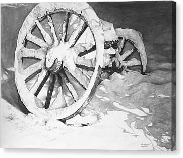 Snowy Wheel  Canvas Print by Aaron Spong