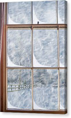 Snowy Scene Canvas Print - Snowy Window by Amanda Elwell