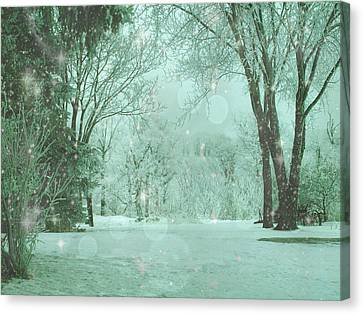 Snowy Winter Night Canvas Print by Mary Wolf