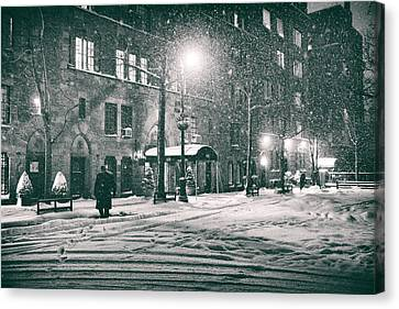 Snowy Night Night Canvas Print - Snowy Winter Night - Sutton Place - New York City by Vivienne Gucwa