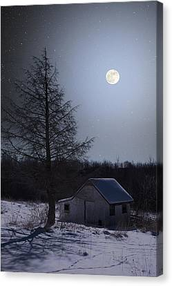 Canvas Print featuring the photograph Snowy Winter Shed by Larry Landolfi