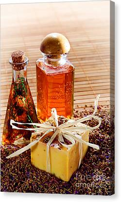 Soap And Fragrance Oils Canvas Print by Olivier Le Queinec