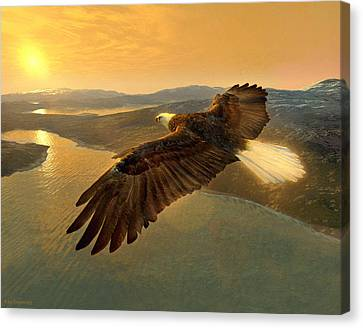 Soaring Eagle Canvas Print by Ray Downing