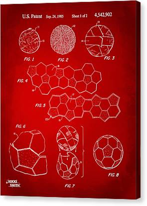 Soccer Ball Construction Artwork - Red Canvas Print