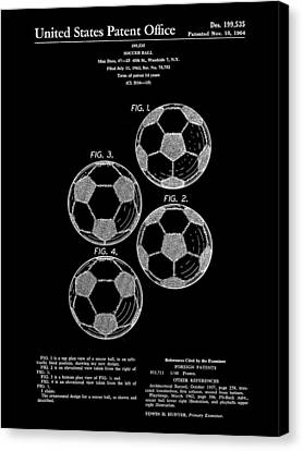 Soccer Ball Patent 1964 - Black Canvas Print by Stephen Younts