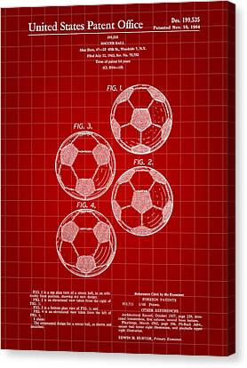 Soccer Ball Patent 1964 - Red Canvas Print by Stephen Younts