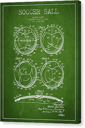 Soccer Ball Patent Drawing From 1932 - Green Canvas Print by Aged Pixel