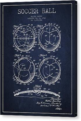 Soccer Ball Patent Drawing From 1932 - Navy Blue Canvas Print