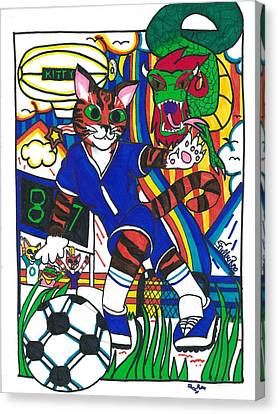 Soccer Cat Canvas Print by Artists With Autism Inc