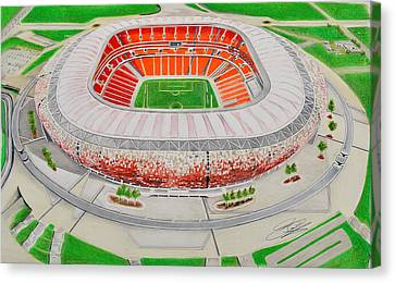 Soccer City Stadia Art - South Africa National Stadia Canvas Print by Brian Casey