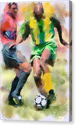 Soccer Fight Canvas Print by Yury Malkov