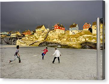 Soccer In Greenland Canvas Print by Robert Lacy