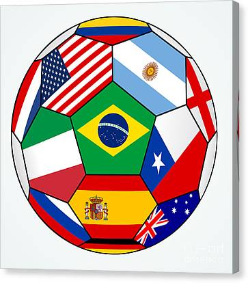 soccer with various flags - Brazil 2014 Canvas Print by Michal Boubin