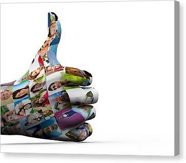Social Media People Painted Hand In Ok Sign Canvas Print by Michal Bednarek