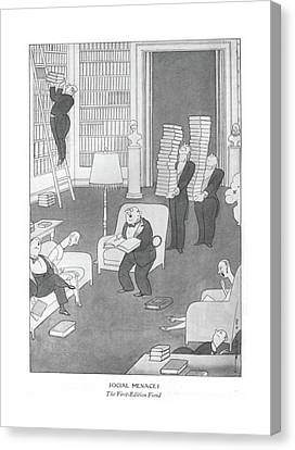 Book Collecting Canvas Print - Social Menaces  The First-edition Fiend by Rea Irvin