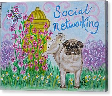 Social Networking Pug Canvas Print