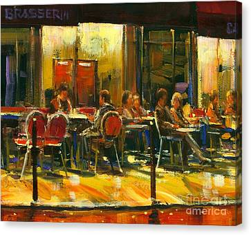 Canvas Print featuring the painting Socializing by Michael Swanson