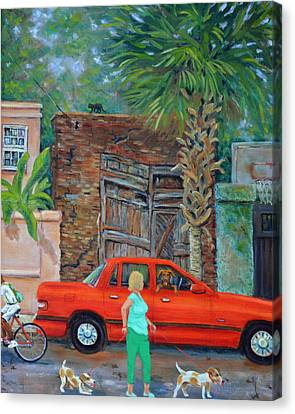 Canvas Print featuring the painting Society Street Afternoon by Dwain Ray