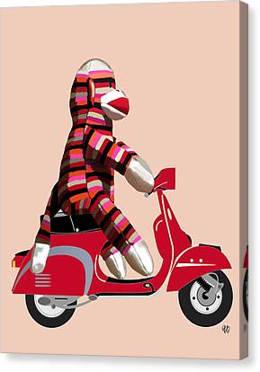 Sock Monkey And Moped Canvas Print by Kelly McLaughlan
