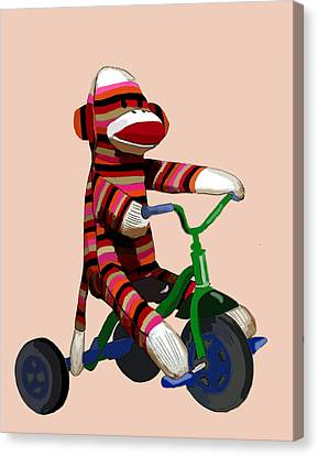 Sock Monkey And Tricycle Canvas Print by Kelly McLaughlan