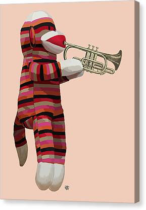 Sock Monkey And Trumpet Canvas Print by Kelly McLaughlan
