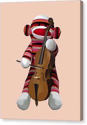 Sock Monkey With Cello Canvas Print by Kelly McLaughlan