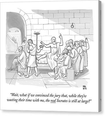 Trial Canvas Print - Socrates Drinking Hemlock by Paul Noth