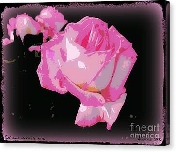 Canvas Print featuring the photograph Soft And Delicate Pink Rose by Leanne Seymour