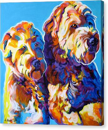 Soft Coated Wheaten Terrier - Max And Maggie Canvas Print by Alicia VanNoy Call