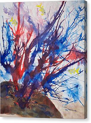 Soft Coral Splatter Canvas Print by Patricia Beebe