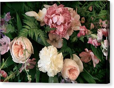Soft Floral Bouquet In Pink Canvas Print by Linda Phelps