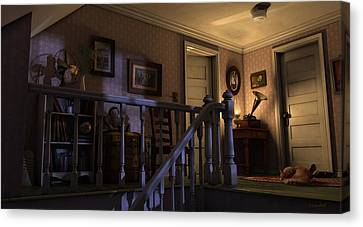 Canvas Print featuring the painting Soft Landing by Ron Crabb