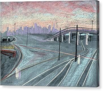 Soft Sunset Over San Francisco And Oakland Train Tracks Canvas Print by Asha Carolyn Young