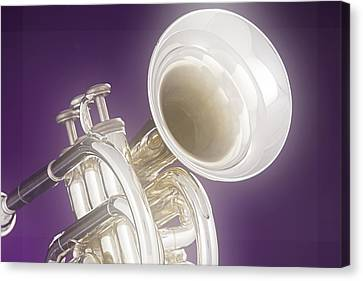 Soft Trumpet On Purple Canvas Print by M K  Miller