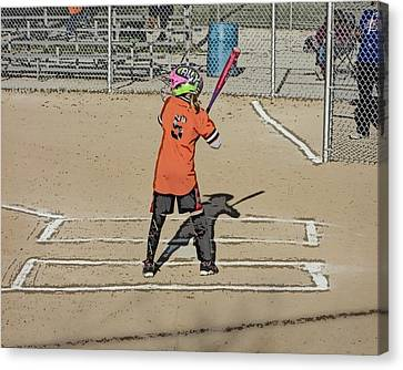 Canvas Print featuring the photograph Softball Star by Michael Porchik
