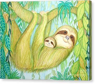 Soggy Mossy Sloth Canvas Print by Nick Gustafson