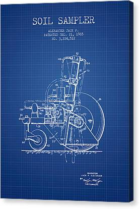 Soil Sampler Machine Patent From 1965 - Blueprint Canvas Print by Aged Pixel