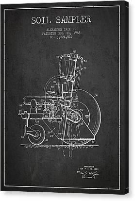 Soil Sampler Machine Patent From 1965 - Dark Canvas Print by Aged Pixel