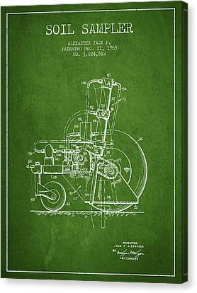 Soil Sampler Machine Patent From 1965 - Green Canvas Print by Aged Pixel