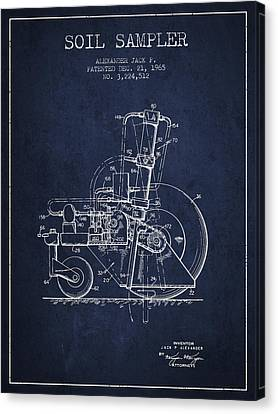 Soil Sampler Machine Patent From 1965 - Navy Blue Canvas Print by Aged Pixel