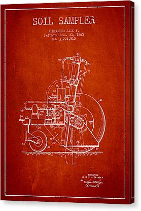 Soil Sampler Machine Patent From 1965 - Red Canvas Print by Aged Pixel