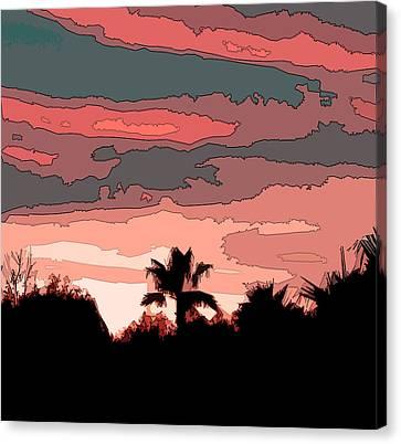 Canvas Print featuring the digital art Solana Beach Sunset 1 by Kirt Tisdale