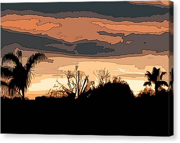 Canvas Print featuring the digital art Solana Beach Sunset 2 by Kirt Tisdale