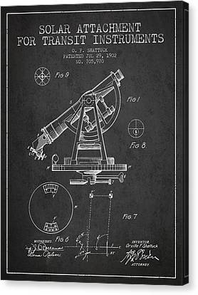 Solar Attachement For Transit Instruments Patent From 1902 - Cha Canvas Print by Aged Pixel