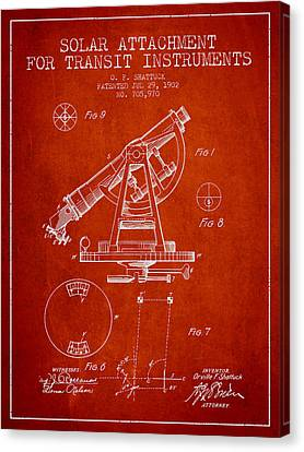 Solar Attachement For Transit Instruments Patent From 1902 - Red Canvas Print by Aged Pixel