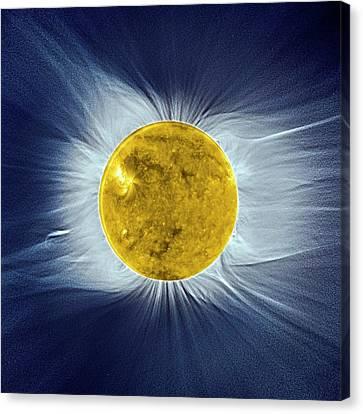 Solar Disc And Corona Canvas Print by European Space Agency/proba-2 Consortium/swap Team/institut D�astrophysique De Paris (cnrs And Upmc), S. Koutchmy/j. Mouette