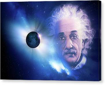 Solar Eclipse And Einstein Canvas Print by Detlev Van Ravenswaay
