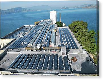 Solar Power At Alcatraz Canvas Print by National Park Service/us Department Of Energy