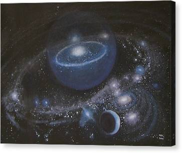 Canvas Print featuring the painting Solar System by Min Zou